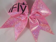 I FLY ifly Pink Silver Holographic Sparkley Dot Cheer Bow  by BlingItOnCheerBowz