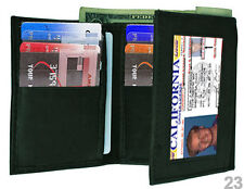 Black  MEN's GENUINE SOFT LEATHER ID WINDOW 12+ CREDIT CARDS TRIFOLD WALLET 23L