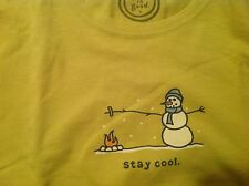 LIFE IS GOOD   STAY COOL SNOWMAN Womens Crusher Retro Green Large  NWT RELAXED