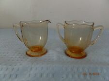 Cambridge 3400 Amber Cream and Sugar Set