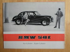 BMW 501 6 & 8 Cylinder original 1955 UK Market brochure prospekt