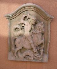 Heiliger Sankt Georg Relief Wandbild Antik Sandstein Look Steinguß W 05
