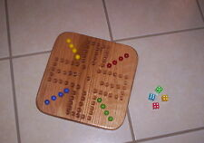 "13"" TRAVEL SIZE WOOD OAK AGGRAVATION MARBLE GAME BOARD 4-PLAYER    NEW"