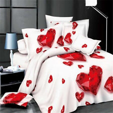 3D Red Love Heart Printing Pillowcase Quilt Duvet Cover Bedding Set Queen Size