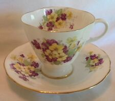 Clarence Bone China Footed/Fluted Cup & Saucer Purple & Yellow Floral England
