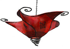 Moroccan Sconce Lamp Goat Lamb Skin Shade Henna Light Fixtures Wall Ceiling Red