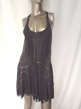 All Saints Gray Distressed Boho Fringe T Back Dress 6 S