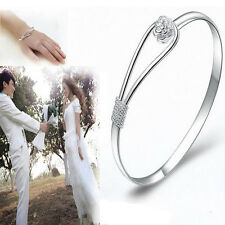 Newly Delicate Women Lady Silver Plated Flower Cuff Bangle Bracelet Jewelry Gift