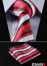 "Stripe 3.4""Silk Woven Wedding Men Pocket Square Tie Necktie Handkerchief Set ESA"
