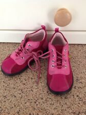GORGEOUS ECCO GIRLS PINK LACE UP BOOTS UK INFANT SIZE 5 WORN SLIGHT WEAR TO TOES