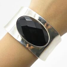 Elle 925 Sterling Silver Large Real Black Onyx Gemstone Wide Cuff Bracelet 7""