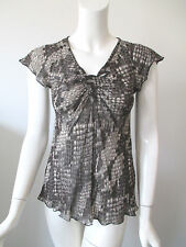 CLAUDIA STRATER Gray Snake Skin Prints Sheer Viscose Top IT 34 (US 00)