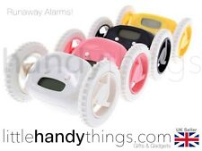 Top Wake-Up Runaway Fun Alarm Clock Moving Wheels White/Pink/Black/Yellow Gift