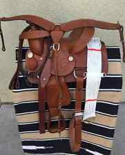 "14"" NEW TAN LEATHER HARD SEAT WESTERN PLEASURE SADDLE PACKAGE GREAT BUY"