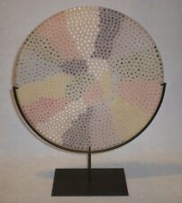 "Vintage 11.5"" Millefiori Murrine Murano Glass Display Plate and Iron Stand Mint"