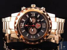 Men Aqua Master Rose Gold Finish Big Face XL Diamond Watch 50mm W#138 0.33Ct