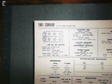1961 Chevrolet Corvair Series 900 Power Pak 145 SUN Tune Up Chart Great Shape!