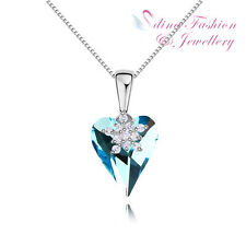 18K White Gold Plated Genuine Swarovski Crystals Aqua Snowflake Heart Necklace