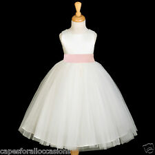 IVORY TULLE GOWN SATIN SASH BRIDESMAID FLOWER GIRL DRESS 12-18M 2 4 6 8 10