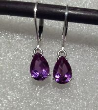 925 Sterling Silver Pear Cut Purple Alexandrite Sapphire Lever Back Earrings