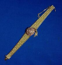 18K YELLOW GOLD LADIES WOMENS WRIST WATCH & BAND W/ RUBIES, PRYNGEPS MOVEMENT