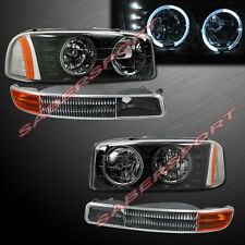 2000-2006 GMC YUKON SIERRA DUAL HALO HEADLIGHTS w/ LED BLACK + BUMPER LIGHTS SET