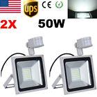 2X 50W Cool White Floodlight LED Outdoor Spot Lamp PIR Motion Sensor Flood Light