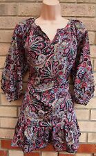 APRICOT PAISLEY RED BLUE YELLOW SILKY FEEL LONG SLEEVE BAGGY SMOCK TUNIC TOP XS