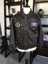 Genu Avirex DSCP A-2 Brown Flight US Air Force Bomber Leather Jacket 44R  •Nice•