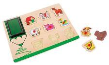 Set timbri 9 timbrini animali della fattoria puzzle a incastro in legno