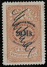 + 1873 Bremen German States 20 Mark Fire Insurance Revenue Bob used