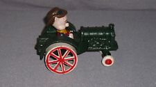Vintage Farmer Pig On Tractor Cast Iron Collectible Rolling Wheels - EUC