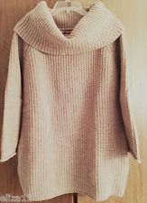 NWT & RARE! UNITED BAMBOO COWL NECK CHUNKY RIB KNIT 100% WOOL SWEATER - SIZE S