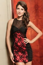 Elegant Evening Club Dress With Lace Black And Red