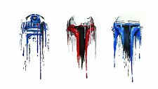 R2D2 STAR WARS WATERCOLOUR ART IMAGE  A4 Poster Laminated Gloss Print