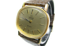 Auth OMEGA Vintage DE VILLE Gold Plated Dial Leather Band Quartz Ladies Watch
