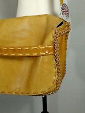 Vtg Leather Boho Hippie Bag Carry All Lg Flap Braided Tan Purse Artisan Craft