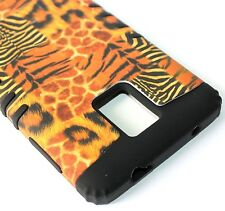 For Samsung Galaxy Note 4 -HARD&SOFT RUBBER HYBRID CASE BROWN LEOPARD TIGER SKIN