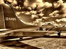 B 17 OLD VINTAGE AEROPLANE WAR SEPIA PHOTO ART PRINT POSTER PICTURE BMP2387A