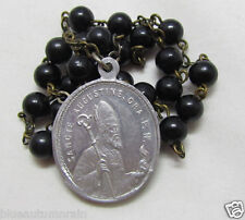 "† HTF ANTIQUE ""SAINT AUGUSTINE HIPPO"" ALUMINUM MEDAL CHAPLET ROSARY BREWERS †"