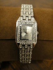 Pre Owned Main Line Time Ladies Watch Rhinestone Silver Square Face Fashion Vint