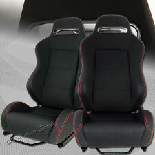 TYPE-2 Reclinable Black Cloth Red Stitching Racing Seats + Sliders Universal 2