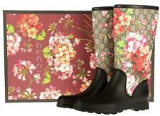 NEW GUCCI GG SUPREME BLOOMS BLACK LOGO RUBBER RAIN BOOTS 39/US 9