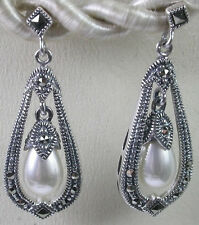 MARCASITE STERLING SILVER  PEARL DANGLE EARRINGS