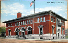 1915 Akron, OH Postcard - 'Post Office Building' - Ohio