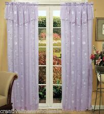 Daisy Embroidery Window Curtain Panel 2PCS Lavender NEW Creative Linens