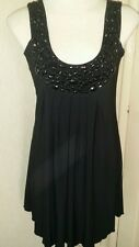 Butler & Wilson QVC sleeveless jewelled neckline flared black top new size m