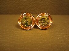 Vintage Coin Edge Jade Yellow Gold Plated Cuff Links