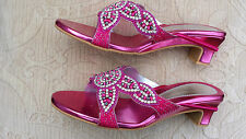 PINK CHILDREN KIDS GIRLS WEDDING PARTY LOW HELL SANDALS SHOES SIZE 3