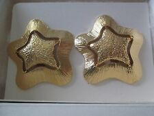 """AVON VINTAGE**STARSCAPE CLIP-ON EARRINGS**GOLD TONE**1 3/4""""**NEW IN BOX**1991"""
